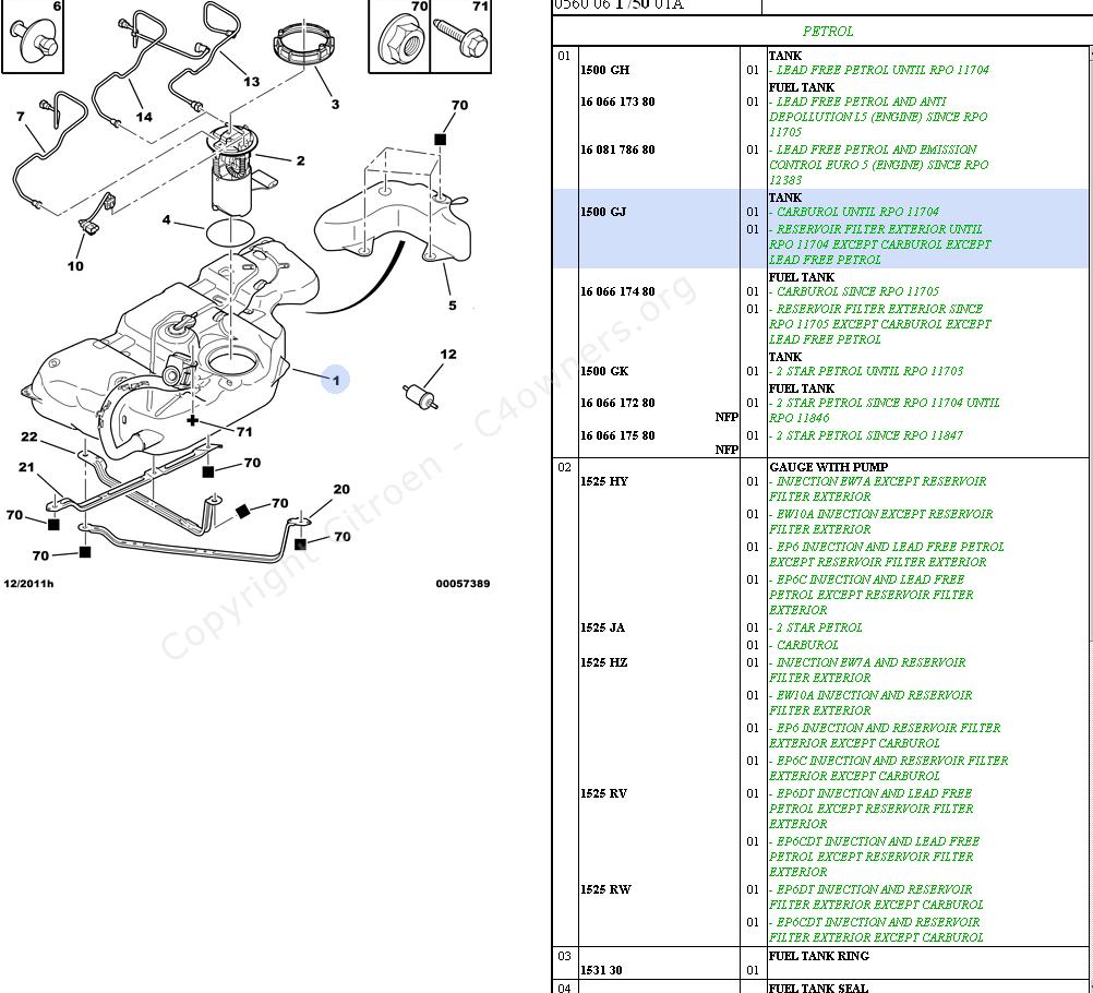 citroen fuel pump diagram