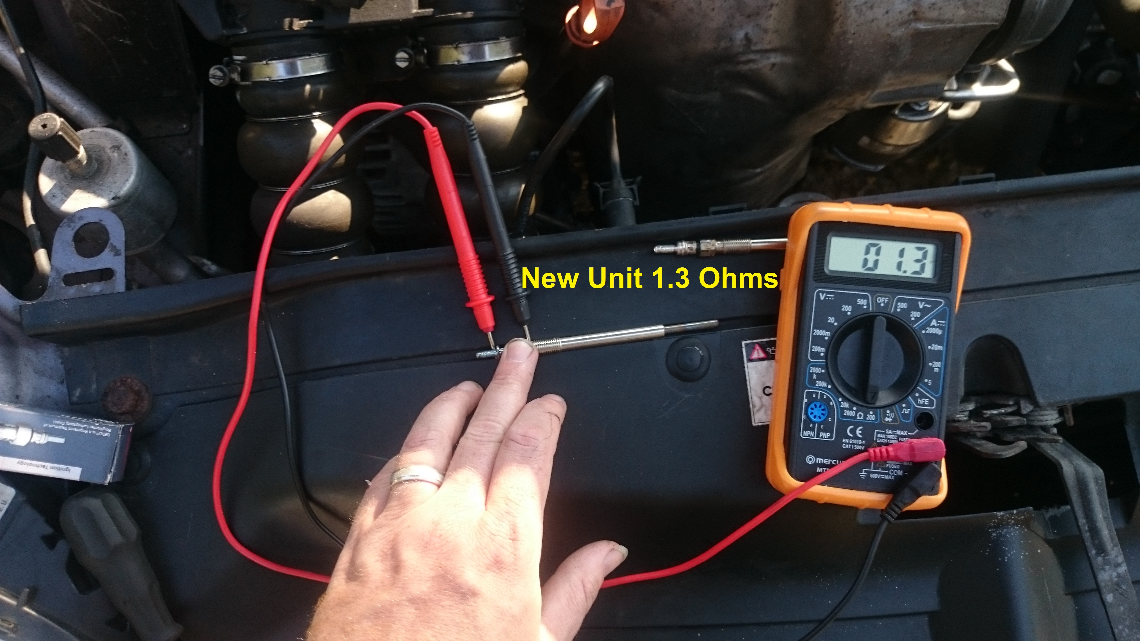 ... Ohms just touching the leads together (cheap unit) so 1 Ohm is a  reasonable estimate, which would equate to 48 Watts of power (@ 12V, more  at 13.8V).